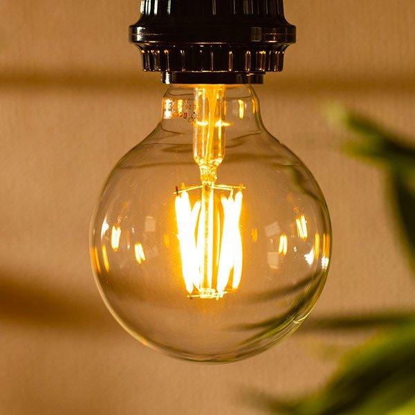 画像3: 【新商品】LED電球 E26 フィラメント電球 ボール形 4W 360lm 濃い電球色(2100K) 白熱電球30W相当 クリアタイプ 1年保証