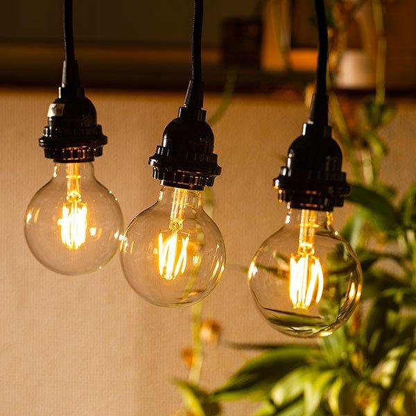 画像4: 【新商品】LED電球 E26 フィラメント電球 ボール形 4W 360lm 濃い電球色(2100K) 白熱電球30W相当 クリアタイプ 1年保証