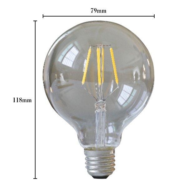 画像5: 【新商品】LED電球 E26 フィラメント電球 ボール形 4W 360lm 濃い電球色(2100K) 白熱電球30W相当 クリアタイプ 1年保証