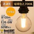 画像2: LED電球 E26 フィラメント電球 エジソン電球 エジソン球 ボール形 6W 810lm 電球色(2700K) 白熱電球60W相当 クリアタイプ 1年保証 (2)
