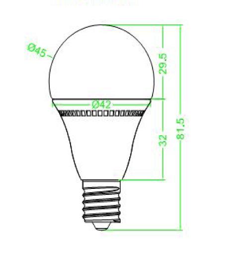 BeeLIGHTのLED電球「BD-0417MC」の姿図。