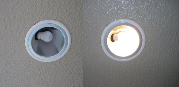 BeeLIGHTのLED電球「BD-0517N」の実際の斜め差し器具の使用例写真。