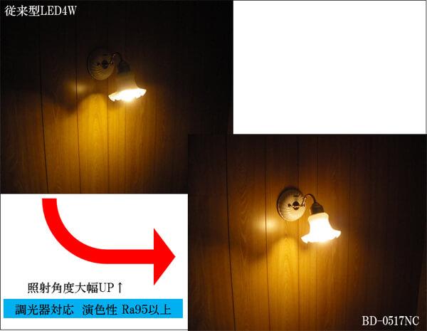 BeeLIGHTのLED電球「BD-0517NC」と従来型LEDとの点灯比較写真。