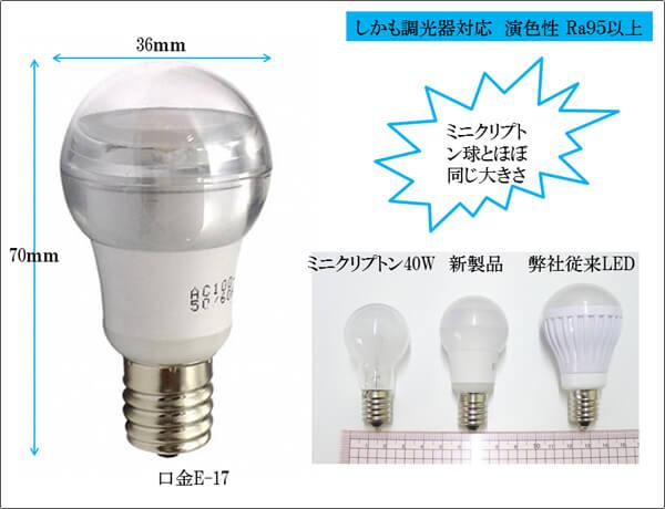 BeeLIGHTのLED電球「BD-0517NC-CL」とミニクリプトン40W、従来型LEDとのサイズ比較写真。
