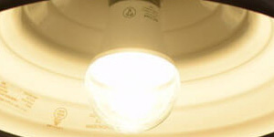 BeeLIGHTのLED電球「BD-0726-IP65 Clear-WW」の点灯写真。