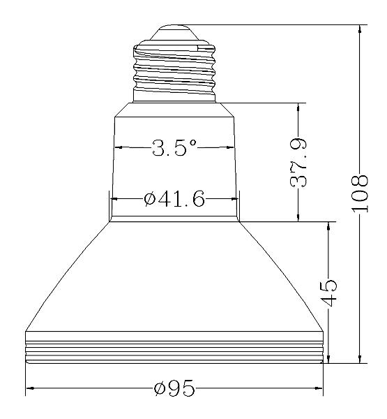 BeeLIGHTのLED電球「BH-1226RC-BK-WW-15-60」の姿図。