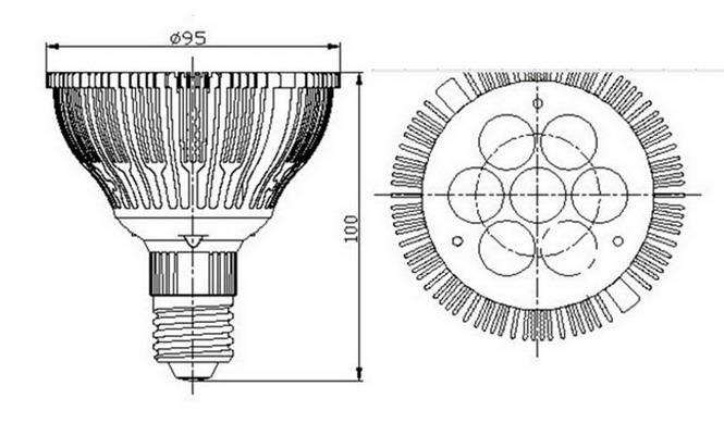 BeeLIGHTのLED電球「BH-0826H2」の姿図。