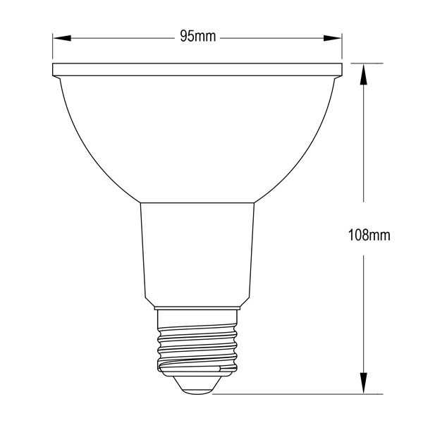 BeeLiGHTのLED電球「BH-1226NC-WH-TW-Ra92」の姿図。