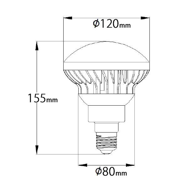 BeeLIGHTのLED電球「BH-1526B-WH-WW-Ra92」の姿図。