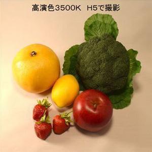 お野菜の照射比較。H5シリーズのLED電球で撮影。